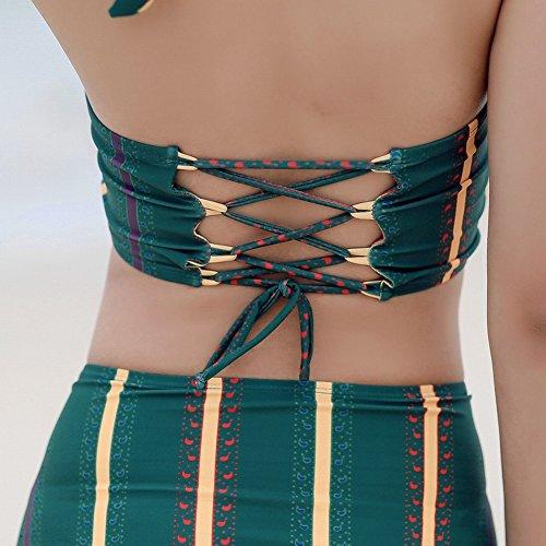 Gathering pezzi Costume Summer Small Camicia Skirt Bikini Spa verde Chest HOMEE bagno Covering Lady Beach tre Swimsuit M da q67A7w8g