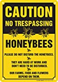 """Caution No Trespassing Honeybees At Work Sign, 10""""x14"""" - .040 Rust Free Aluminum - Made in USA - UV Protected and Weatherproof - A82-330AL"""