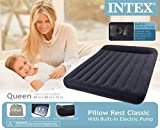 Intex Pillow Rest Classic Airbed with Built-in Pillow and Electric Pump, Queen