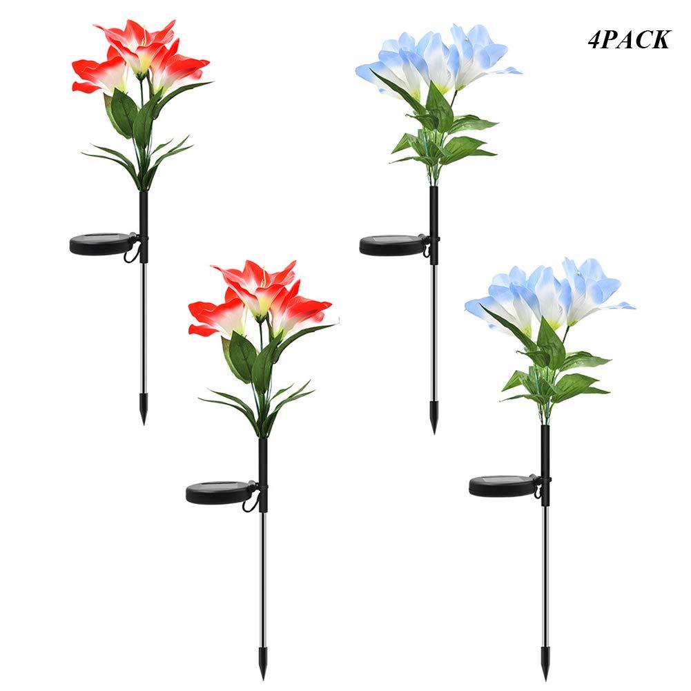 BuBu-Fu Solar Garden Decorative Flower Lights Outdoor, 2 Pack Multi-Color Changing Led Solar Stake Lights, ip65Waterproof Lily Flowe Garden, Patio, Backyard Lights,B4PACK by BuBu-Fu