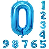 Large Number Balloons Blue Giant Helium Big Foil Mylar Balloons Birthday Party Decorations Wedding Decor 40 Inch (Number 0)
