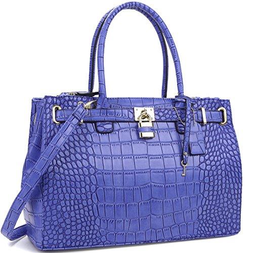 K68038L MyLux® Connection Fashion Designer Office Handbag Tote 0326-1-BLUE