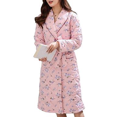 Bata De Casa Casual De Invierno para Mujer Albornoz Ropa De Hogar Pijama De Algodón Solapa Loungewear: Amazon.es: Ropa y accesorios