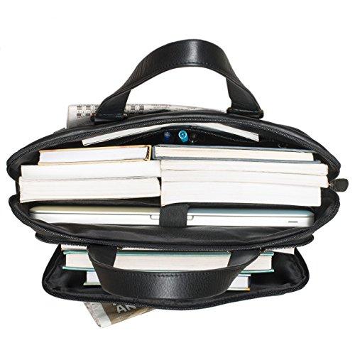 STILORD 'Lean' Bolso bandolera piel mujeres hombres grande A4 bolso para universidad maletín de trabajo bolso de negocios bolso de mano para laptop macbook 13,3 pulgadas, Color:negro negro