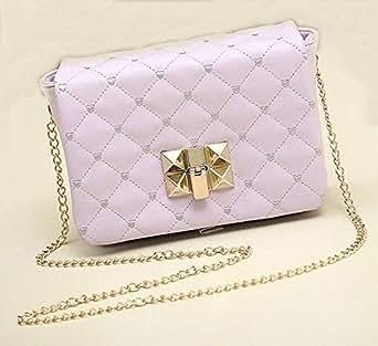 Female Bag Candy Color Women's Small Satchel Quilted Plaid Chain Bag Messenger Shoulder Bag GH9888 Purple