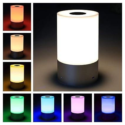 Smart Nachttischlampe Nachtlicht Touch Dimmbare wiederaufladbares Tischlampe mit 256 RGB Farbwechsel Stimmungslicht 3 Helligk
