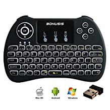 Air Mouse 2.4GHz LED Backlit Mini Wireless Keyboard with Remote Control Touchpad Mouse for HTPC XBOX360 Android TV Box MXQ MXPRO M8S iPad Mac Linux Windows OS - Black