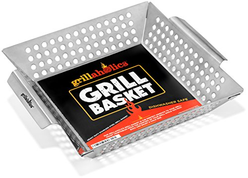 Grillaholics Grill Basket, Best in Barbecue Grilling Accessories, Grill BBQ Veggies on Gas or Charcoal Grills with this Stainless Steel Vegetable Grill Basket (Seafood Grill Basket compare prices)