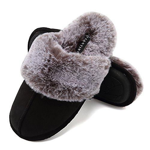 - Fanture Women's Slippers Real Fur Lining Slip-on Clog Scuff House Shoes Indoor & Outdoor-U418WMT010-black-F-36.37