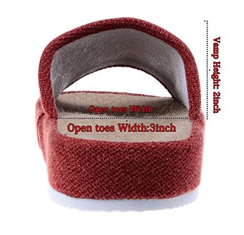 Bronze Times (TM) Zapatillas de Casa de Lino Algodón Antideslizantes Tatami Verano Premium(Marrón) M F0eKP2s8oh