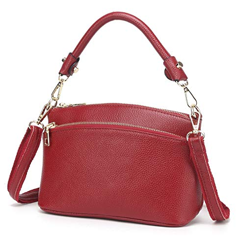 CHERRY CHICK Women's Genuine Leather Crossbody Purse Small Cowhide Skin Handbags Shoulder Bag for Lady(Burgundy-9001)