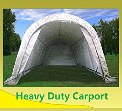 DELTA Canopies 20'x12' Carport Grey/White - Garage Storage Canopy Shed Car Truck Boat PE - Round - By