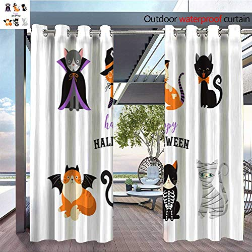 Exterior/Outside Curtains Happy Halloween Cats in Monsters Costumes Halloween Party Vector Illustration ba for Patio Light Block Heat Out Water Proof Drape W72 x L96/Pair -