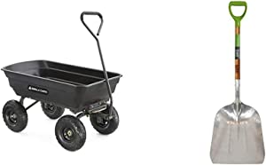 Gorilla Carts GOR4PS Poly Garden Dump Cart with Steel Frame and 10-in. Pneumatic Tires, 600-Pound Capacity, Black & AMES 2672100 Aluminum Scoop with Hardwood Handle and D-Grip, 45-Inch