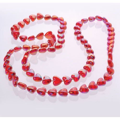 Heart Mardi Gras Beads - U.S. Toy Lot of 12 Red Pearlized Heart Beaded Necklaces