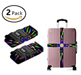 OKAYDECOR Long Cross Luggage Straps Suitcase Belts Kaleidoscope tie dye Windmill