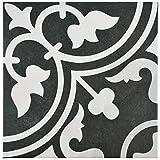 SomerTile FCD10ARB Burlesque Porcelain Floor and Wall Tile, 9.75'' x 9.75'', Black
