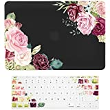 """TOP CASE – 2 in 1 Watercolor Roses Graphics Rubberized Hard Case + Keyboard Cover Compatible with Apple MacBook Air 13"""" (13"""" Diagonally) Model: A1369/A1466 - Black Base"""