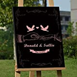 Custom Wedding Guest Book Alternative Art Canvas Print Signature Hand in Hand Personalized Wedding Gifts for Soliciting Signatures 16x24 inch Wedding Guestbook Poster Black and Coral