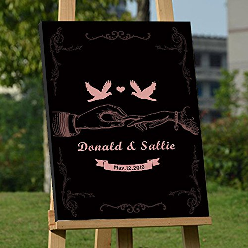 - Custom Wedding Guest Book Alternative Art Canvas Print Signature Hand in Hand Personalized Wedding Gifts for Soliciting Signatures 16x24 inch Wedding Guestbook Poster Black and Coral