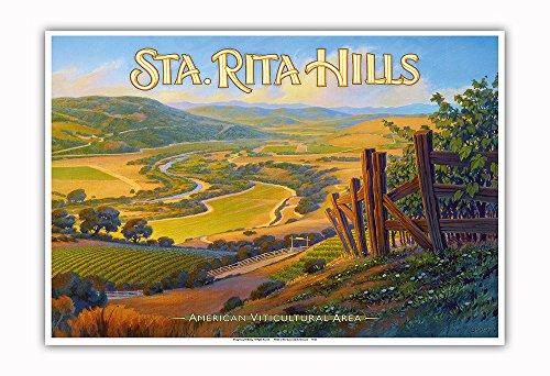 Pacifica Island Art Sta. (Santa) Rita Hills Wineries - Central Coast AVA Vineyards - California Wine Country Art by Kerne Erickson - Master Art Print - 13in x 19in