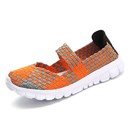Lightweight Platform Braided Shoes On Comfort Orange Mesh Sports Breathable Water Bornran Slip Sneakers Woven Women's qxpSwaYStF