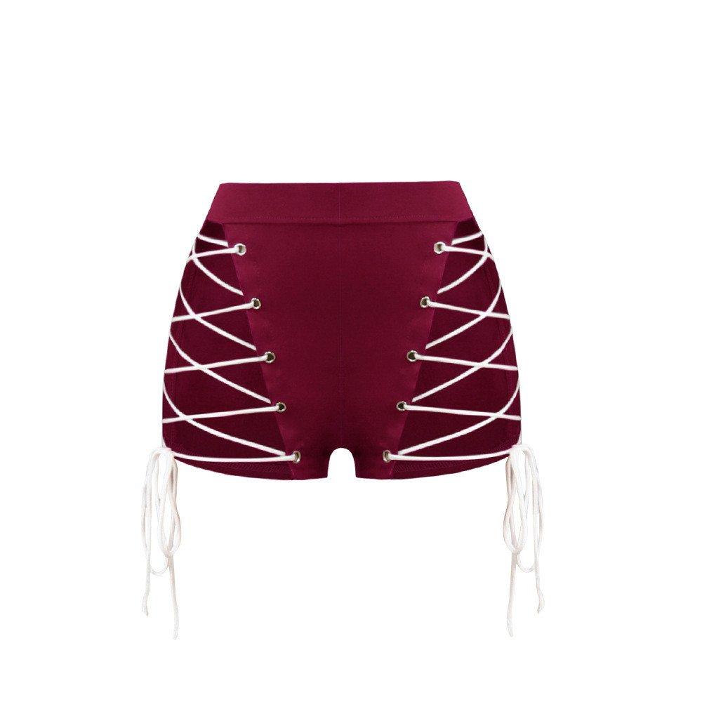 Ropa Transparente Net Corbata Shorts y Pantalones Cortos,Rojo XL ...
