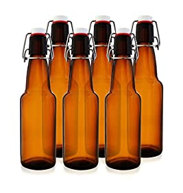 12 oz Swing Top Kombucha Bottles - Grolsch Style Flip Top Glass Bottles - Reduce Carbonation Time - Reusable Home Brewing Bottles (Amber, Case of 6)