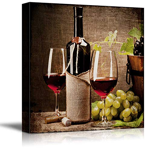 wall26 - Square Canvas Wall Art - Glasses of Wine with Wine Bottle and Grapes - Giclee Print Gallery Wrap Modern Home Decor Ready to Hang - 24x24 inches