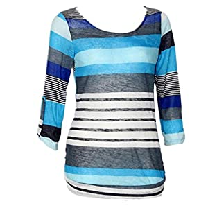Gillberry Fashion Women Polyester Loose Blouse Ladies Casual Tops T-Shirt (XL, Blue)
