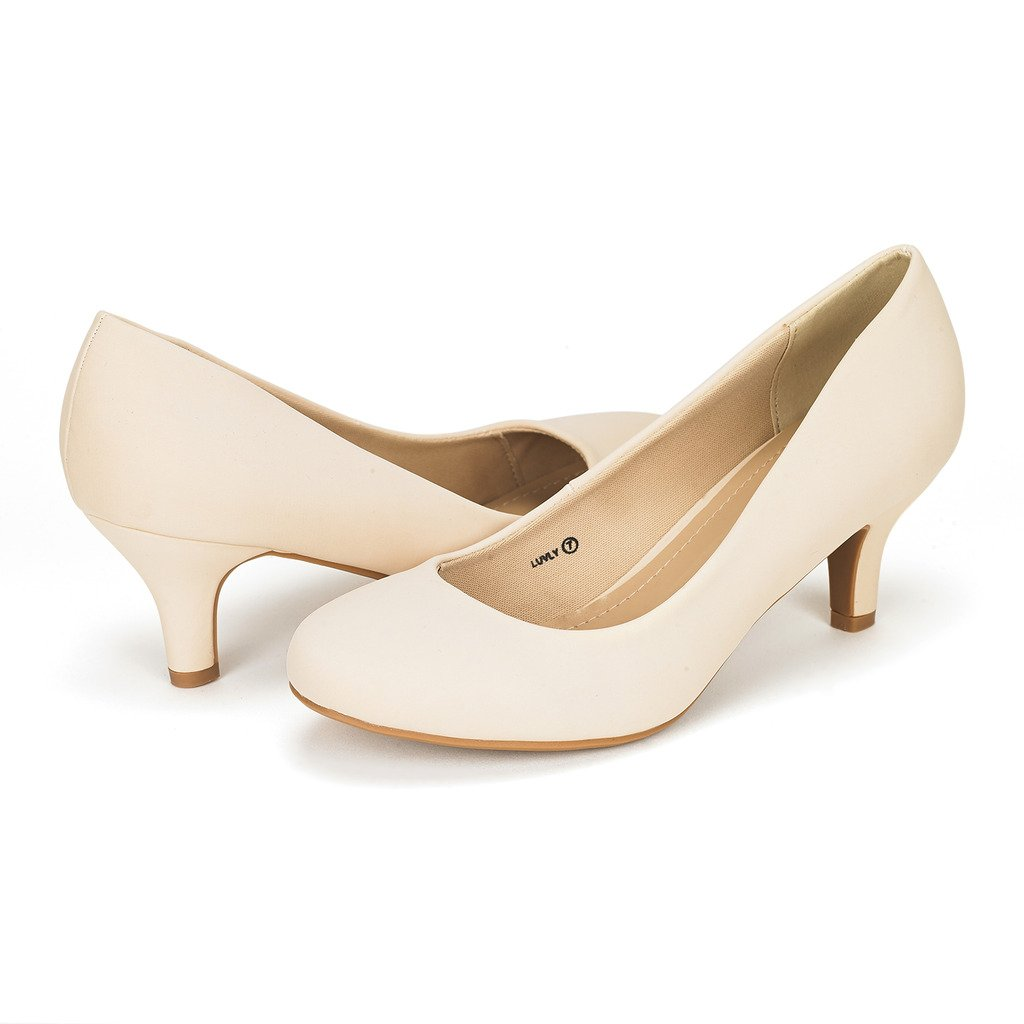 DREAM PAIRS Women's Luvly Nude Nubuck Bridal Wedding Low Heel Pump Shoes - 9 M US