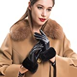 Mandy's Women's Genuine Nappa Leather Rex Mink Fur New Dress Show Gloves (Large(7.5''-8''), Black)