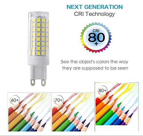 Ceiling Fan MD Lighting G9 LED Bulb 10W LED Corn Light Bulbs 6 Pack Dimmable - G9 Ceramic Bulbs Replacement 80W Equivalent Halogen Bulbs Daylight White 6000K G9 LED Bulbs for Home Lighting AC120V