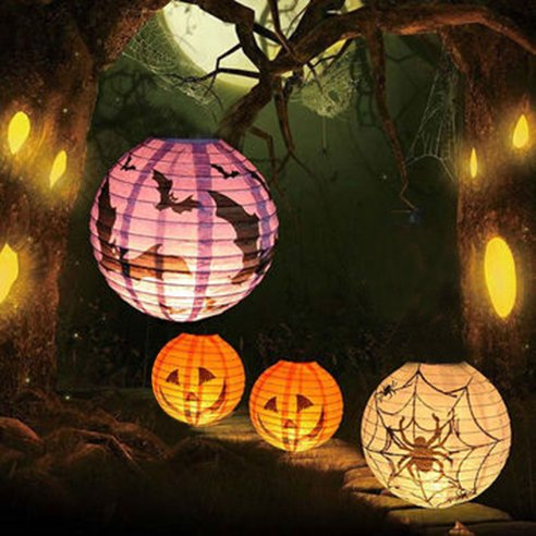 Charmed Halloween spider pumpkin bat paper lanterns in orange purple and white (9 -