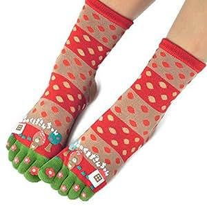 Womens [Happy Garden] Five Toes Socks Five Fingers Cartoon Socks 1 Pair