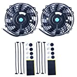 8milelake 7 inch 12V 80W High Performance Black Slim Electric Cooling Radiator Fan with Fan Mounting Kit (Pack of 2)