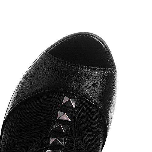AllhqFashion Women's Solid PU High-Heels Peep Toe Zipper Sandals Black CKXlqKMnYr