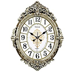 PQPQPQPQ Living Room Silent Wall Clock European Style Oval Quartz Clock Creative Fashion Wall Clock Personality Linked To The Table (Color : #3)
