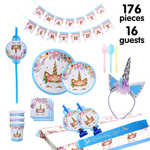 Unicorn party supplies and decorations set 176 piece for birthday party-Serves 16 guests-birthday bunting,straws,blowouts whistles,Unicorn headband,pink satin sash for girls,Unicor (B-blue)