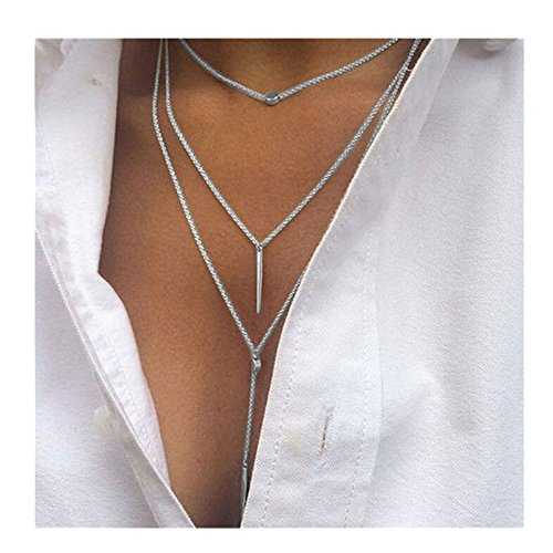 Challyhope Women Girls Sexy Fashion Elegant Tassel Multilayer Necklace Body Chain Jewelry Gifts (Silver, Alloy)