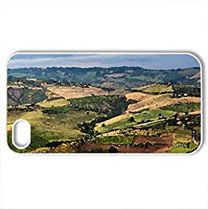 aerial view of the fields around abruzzo - Case Cover for iPhone 4 and 4s (Fields Series, Watercolor style, White)