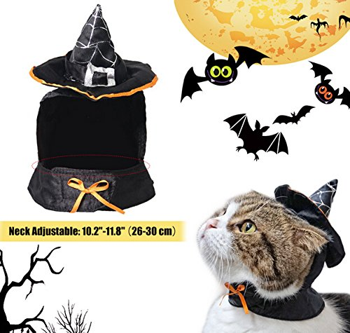 Picture of Lanyar Cute Hooded Cloak Witch/Wizard Halloween Costume for Small Dogs & Cat Kitten, Cat Costume