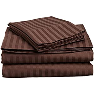 "True Linen offers- Elegant 4PC Sheet set with 6"" Deep pocket made by 400TC 100% cotton for RV- Trucks, campers, Airstream, Bus, Boat and motor homes 48"" by 75"" RV Bunk Size, Chocolate Stripe"