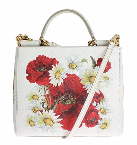 DOLCE & GABBANA Sicily Shopper Poppies Daisies Floral White Dauphine Leather Medium Bag Handbag Purse - Gabbana Dolce Sicily And