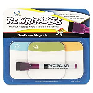 Quartet Rewritables Dry Erase Magnets, Set of 3 Magnets and 1 Dry Erase Marker (12-707292Q)