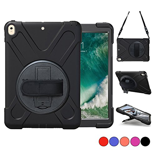 - New iPad Pro 10.5 Case, TSQ Heavy Duty Carrying Rugged Protective Armor Case with 360 Degree Stand, Handle Hand Grip & Shoulder Strap, For Apple Tablet 10.5 inch 2017 Cover Skin Kids A1701 A1709 Black