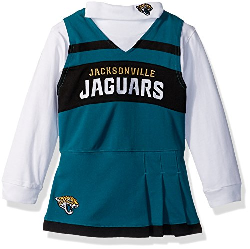 Football Dress - NFL Jacksonville Jaguars Girls Cheer Jumper Dress with Turtleneck Set, Medium, Jag Teal