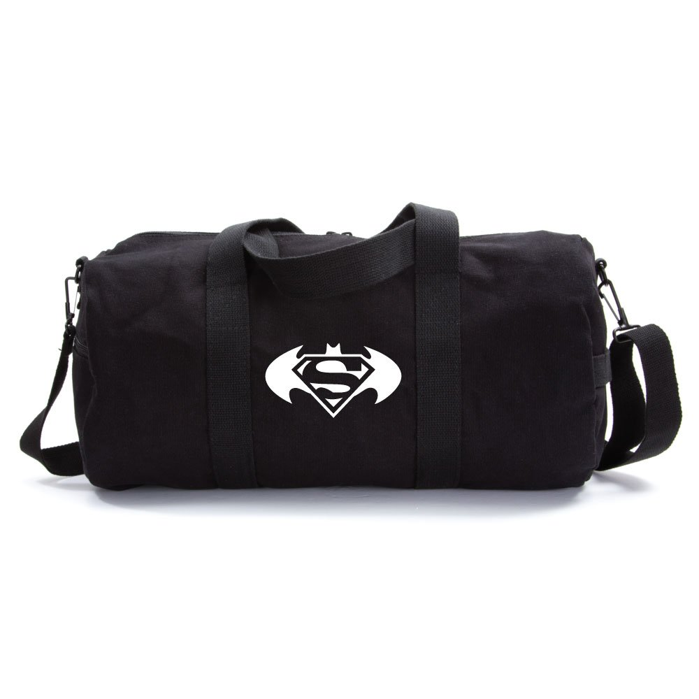 Batman Superman with Round Wings Army Sport Heavyweight Canvas Duffel Bag in Black & White, Large