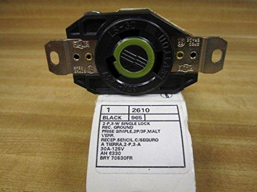 Leviton 2610 30Amp 125V Flush Mount Locking Receptacle, Black