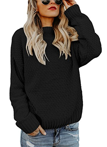 HOTAPEI Women's Sweaters Pullover Crew Neck Velvet Ridded Cable Knit for Winter Long Sleeve Loose Fit Sweaters Black Small ()